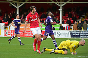 Ebbsfleet United midfielder Jack Powell (7) scores The Fleet's sixth goal 6-1 during the Vanarama National League South match between Ebbsfleet United and East Thurrock United at the Enclosed Ground, Whitehawk, United Kingdom on 4 March 2017. Photo by Jon Bromley.