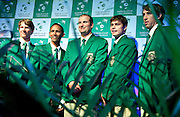 (L-R) Rik de Voest & Raven Klaasen & John Laffnie de Jager trainer coach and captain of South Africa national team & Ruan Roelofse & Jean Andersen all from South Africa while official banquet two days before the BNP Paribas Davis Cup 2013 between Poland and South Africa at MOSiR Hall in Zielona Gora on April 03, 2013...Poland, Zielona Gora, April 03, 2013..Picture also available in RAW (NEF) or TIFF format on special request...For editorial use only. Any commercial or promotional use requires permission...Photo by © Adam Nurkiewicz / Mediasport