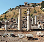 The Prytaneum, 3rd century BC, Ephesus, Izmir, Turkey. This was where religious ceremonies, official receptions and banquets were held. The sacred flame symbolizing the heart of Ephesus was kept constantly alight in the Prytaneum. It was entered via a courtyard surrounded by columns and was also the office of the city's leading government dignitary. Its main room was used for public banquets for honoured individuals. To the west a richly decorated banquet hall or residential house seems to have been functionally related to the Prytaneum. Ephesus was an ancient Greek city founded in the 10th century BC, and later a major Roman city, on the Ionian coast near present day Selcuk. Picture by Manuel Cohen