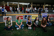 Indiana University students wait in line to vote at Assembly Hall on the campus of Indiana University.