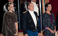 (L-R) Princess Charlene of Monaco, Prince Albert II of Monaco and Princess Caroline of Hanover attend the Monaco National day Gala concert at Grimaldi forum as part of Monaco National Day Celebrations in Monaco, Monaco.