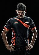 UMumba Pro Kabaddi team draft raider Rohit Kumar poses for a portrait at the Kanteerava Indoor Stadium in Bangalore on June 19, 2014.