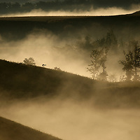 September 18, 2009. Hindman, Kentucky. Morning fog fills the valleys between the man-made contours of Combs Branch reclaimed surface coal mine. (Credit image: © David Stephenson/ZUMA Press)