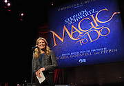 Jan Swartz, President, Princess Cruises, announces a partnership with Oscar-winning Broadway composer Stephen Schwartz to bring his creative development to Princess Cruises during an event at Millennium Broadway's Hudson Theatre, Thursday, March 12, 2015, in New York. (Photo by Diane Bondareff/Invision for Princess Cruises/AP Images)