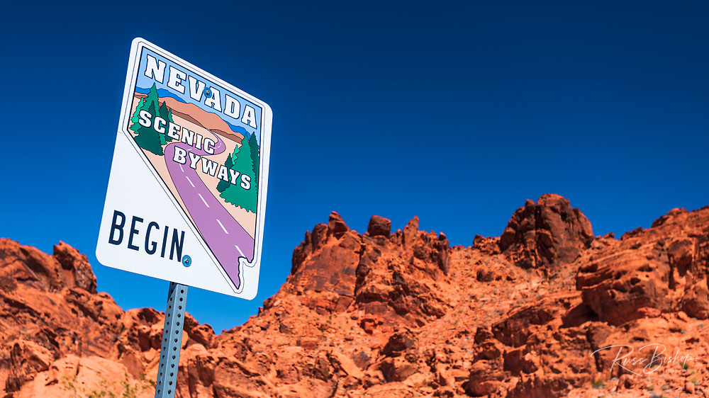Nevada scenic byway sign, Valley of Fire State Park, Nevada USA