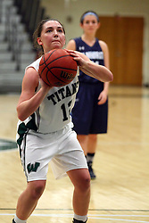 20 February 2016:  Amanda Kelly during an NCAA women's basketball game between the Elmhurst Bluejays and the Illinois Wesleyan Titans in Shirk Center, Bloomington IL