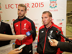 ADELAIDE, AUSTRALIA - Saturday, July 18, 2015: Liverpool's captain Jordan Henderson and manager Brendan Rodgers during a press conference at Adelaide Airport ahead of a preseason friendly match against Adelaide United on day six of the club's preseason tour. (Pic by David Rawcliffe/Propaganda)