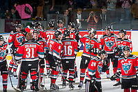 KELOWNA, CANADA - NOVEMBER 26: The Kelowna Rockets celebrate the overtime win against the Regina Pats on November 26, 2016 at Prospera Place in Kelowna, British Columbia, Canada.  (Photo by Marissa Baecker/Shoot the Breeze)  *** Local Caption ***
