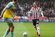 Sheffield United midfielder Mark Duffy (21) in action during the EFL Sky Bet Championship match between Sheffield United and Rotherham United at Bramall Lane, Sheffield, England on 9 March 2019.