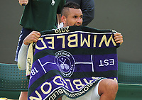 Tennis - 2019 Wimbledon Championships - Week One, Tuesday (Day Two)<br /> <br /> Men's Singles, 1st Round: Nick Kyrgios (AUS) v Jordan Thompson (AUS)<br /> <br /> Nick Kyrgios  bits his towel after losing the set on Court 3<br /> <br /> COLORSPORT/ANDREW COWIE