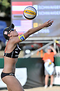 STARE JABLONKI POLAND - July 4: Stefanie Schwaiger of Austria in action during Day 4 of the FIVB Beach Volleyball World Championships on July 4, 2013 in Stare Jablonki Poland.  (Photo by Piotr Hawalej)