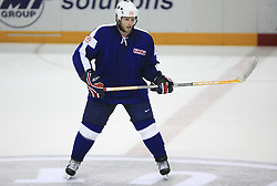 Dejan Varl of Slovenia at ice-hockey match Slovenia vs Latvia at Preliminary Round (group B) of IIHF WC 2008 in Halifax, on May 06, 2008 in Metro Center, Halifax, Nova Scotia, Canada. Latvia won 3:0. (Photo by Vid Ponikvar / Sportal Images)Slovenia played in old replika jerseys from the year 1966, when Yugoslavia hosted the World Championship in Ljubljana.