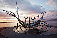 Sólfar (Sun Voyager) sculpture in the harbor, Reykjavik, Iceland.