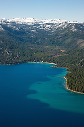 """Meeks Bay, Lake Tahoe Aerial"" - Photograph of Meeks Bay in Lake Tahoe, shot from an amphibious seaplane with the door removed."