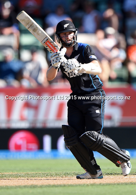 Kane Williamson batting during the ICC Cricket World Cup match between New Zealand and Afghanistan at McLean Park in Napier, New Zealand. Sunday 8 March 2015. Copyright Photo: Andrew Cornaga / www.Photosport.co.nz