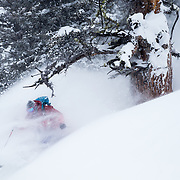 Forrest Jillson skis untracked powder during a major winter storm in the Tetons.