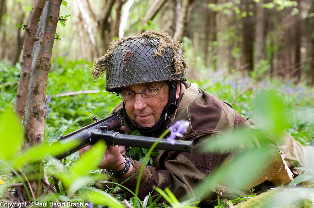 Reenactor from Northern World War Two Association, portraying the 6th Airborne Division 22nd Independent Company during a private 24hr excerise, held at Sutton Grange, near Ripon in Yorkshire 15  May 2010 .Images © Paul David Drabble