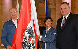 18.07.2016, Hofburg, Wien, AUT, Olympia, Rio 2016, Verabschiedung OeOC, im Bild Fahnentraegerin Liu Jia mit Karl Stoss, und Minister Hans Peter Doskozil // during the farewell of the Austrian National Olympic Committee for Rio 2016 at the Hofburg in Wien, Austria on 2016/07/18. EXPA Pictures © 2016, PhotoCredit: EXPA/ Erich Spiess