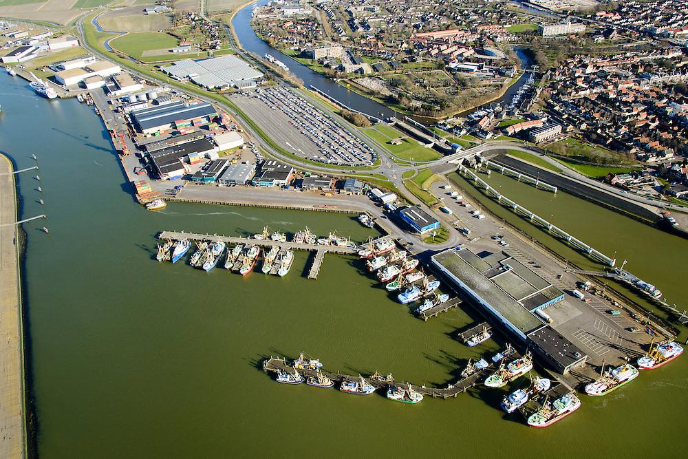 Nederland, Friesland, Harlingen, 28-02-2016; overzicht Harlingen met Nieuwe Vissershaven.<br /> Overview Harlingen harbor.<br /> luchtfoto (toeslag op standard tarieven);<br /> aerial photo (additional fee required);<br /> copyright foto/photo Siebe Swart