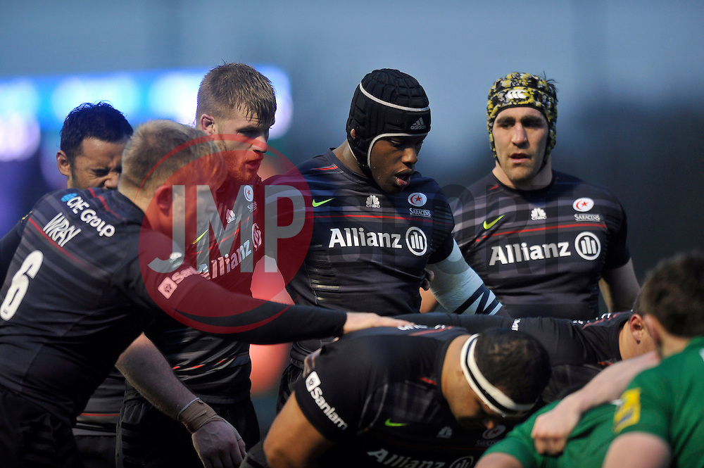 Maro Itoje of Saracens looks on at a scrum - Photo mandatory by-line: Patrick Khachfe/JMP - Mobile: 07966 386802 03/01/2015 - SPORT - RUGBY UNION - London - Allianz Park - Saracens v London Irish - Aviva Premiership