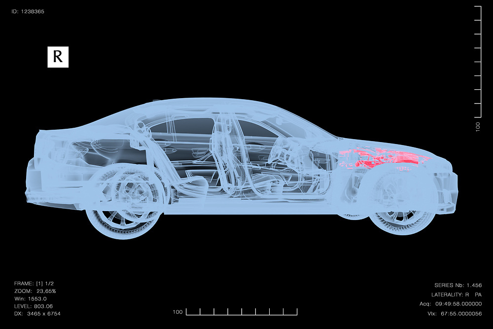 3D rendering of a conceptual image of a car under diagnosis with x-rays