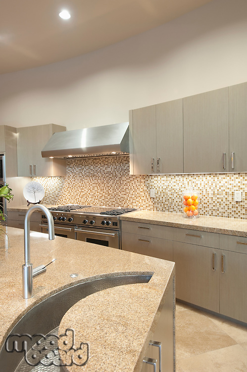 Design detail sink in kitchen with stainless steel fitted units