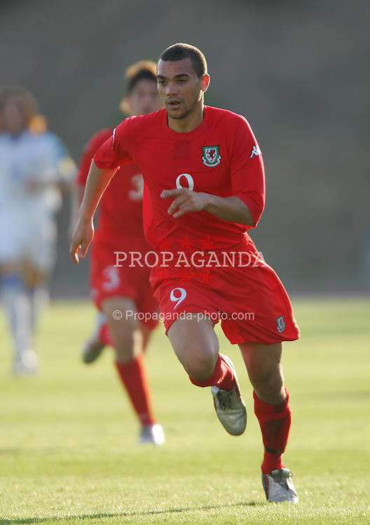 PAPHOS, CYPRUS - TUESDAY, NOVEMBER 15th, 2005: Wales' Ramon Calliste in action against Cyprus during the Under-21 International Friendly match at the Paphiako Stadium. (Pic by David Rawcliffe/Propaganda)