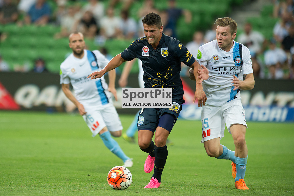 Fabio Ferreira of Central Coast Mariners, Jacob Melling of Melbourne City - Hyundai A-League,  25th October 2015, RD 3, Melbourne City FC v Central Coast Mariners with a win to City 3:1 © Mark Avellino | SportPix.org.uk