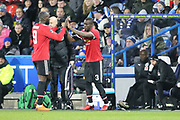 Manchester United subs Romelu Lukaku for Eric Bailly during the The FA Cup match between Huddersfield Town and Manchester United at the John Smiths Stadium, Huddersfield, England on 17 February 2018. Picture by George Franks.
