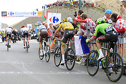 Alberto Contador (ESP) Trek-Segafredo, Polka Dot Jersey Warren Barguil (FRA) Team Sunweb, Romain Bardet (FRA) AG2R La Mondiale, Yellow Jersey Chris Froome (GBR) Team Sky and Rigoberto Uran (COL) Cannondale Drapac crest the summit of the Col du Galibier during Stage 4 of the 104th edition of the Tour de France 2017, running 183km from La Mure to Serre Chevalier, France. 19th July 2017.<br /> Picture: Eoin Clarke | Cyclefile<br /> <br /> All photos usage must carry mandatory copyright credit (© Cyclefile | Eoin Clarke)
