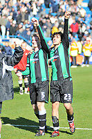 Photo: Tony Oudot/Richard Lane Photography. <br /> Gilingham Town v Swansea City. Coca-Cola League One. 12/04/2008. <br /> Swansea matchwinner Guillem Bauza celebrates at the end of the match with captain Alan Tate