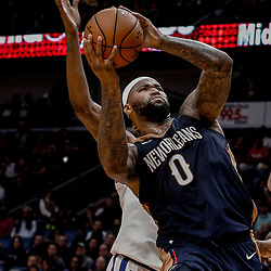 Oct 20, 2017; New Orleans, LA, USA; New Orleans Pelicans forward DeMarcus Cousins (0) shoots against the Golden State Warriors during the second half of a game at the Smoothie King Center. The Warriors defeated the Pelicans 128-120.  Mandatory Credit: Derick E. Hingle-USA TODAY Sports