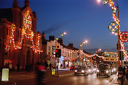 High street decorated with lights to celebrate Diwali; festival of light,
