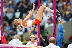 London, August 10 2017 . Kamila Licwinko, Poland, in the Women's high jump qualifying on day seven of the IAAF London 2017 world Championships at the London Stadium. © Paul Davey.