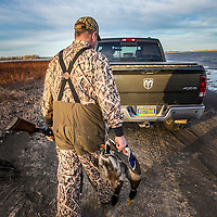 duck hunter with ducks walking back to truck