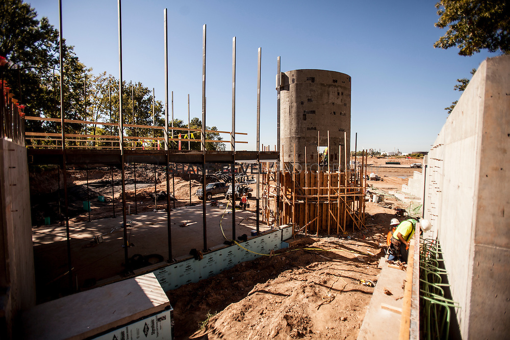 9/30/16 10:53:35 AM -- Lodge construction update. Mist Mountain Foundations, Peggy's Pond Rock install. <br /> <br /> Photo by Shane Bevel
