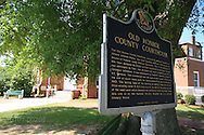 Historical sign at Monroe County courthouse references novel To Kill a Mockingbird by hometown literary hero Harper Lee; Monroeville, Alabama.