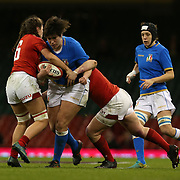Cardiff 11/03/2018, Principality Stadium<br /> Natwest 6 nations 2018 Femminile<br /> Galles vs Italia<br /> Valentina Ruzza placcata da Alisha Butchers