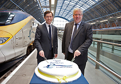 © Licensed to London News Pictures. 14/11/2012. London, U.K..Transport Secretary Patrick McLoughlin and CEO of Eurostar Nicolas Petrovic join Eurostar's 18th Birthday celebrations on the eurostar platform at St. Pancras station, today 14/11/2012..Photo credit : Rich Bowen/LNP