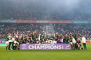 South Africa celebrates with the trophy after winning the World Cup Japan 2019, Final rugby union match between England and South Africa on November 2, 2019 at International Stadium Yokohama in Yokohama, Japan - Photo Yuya Nagase / Photo Kishimoto / ProSportsImages / DPPI