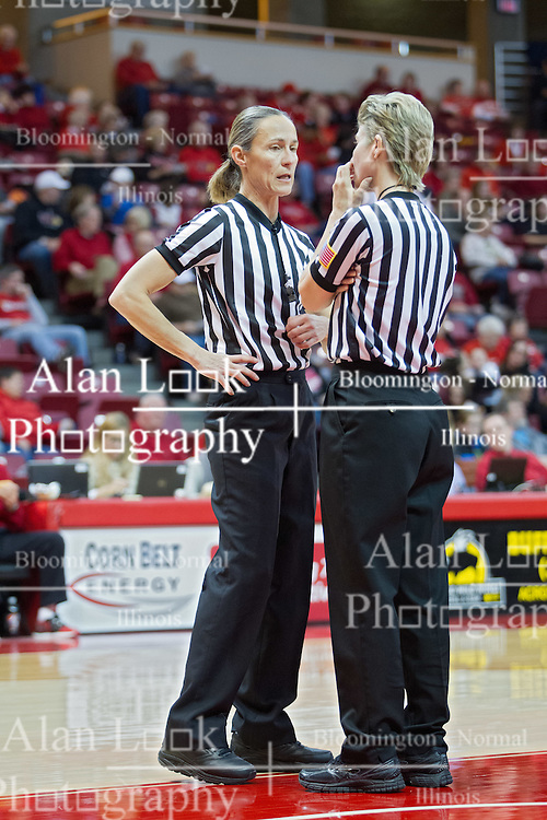 03 January 2014:  Referees Lisa Mattingly and Laura Morris during an NCAA women's basketball game between the Drake Bulldogs and the Illinois Sate Redbirds at Redbird Arena in Normal IL