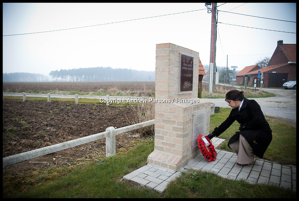 Baroness Sayeeda Warsi lays a wreath at a memorial to the Indian Soldiers in Hollebeke Village, It's one of the site's where Indian Soldiers first saw action in the First World War, Sayeeda is visiting the graves of Commonwealth soldiers on the battlefields of France and Belgium as part of the UK Government's programme to commemorate the centenary of the First World War which starts next year, Wednesday  April 10, 2013. Photo By Andrew Parsons / i-Images