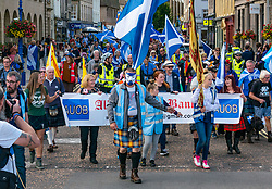 Pictured: Edinburgh International Book Festival, Edinburgh, Scotland, United Kingdom, 07 September 2019. Independence supporters march through Perth in the latest All Under One Banner (AUOB) march of this year. The last march for 2019 is planned in Edinburgh next month.<br /> Sally Anderson | EdinburghElitemedia.co.uk