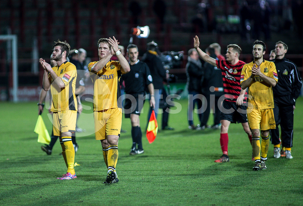 Maidstone players thanks the fans after the The FA Cup second round match between Wrexham and Maidstone United at the Racecource Ground, Wrexham, Wales on 6 December 2014. Photo by Liam McAvoy.
