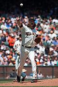 San Francisco Giants starting pitcher Jeff Samardzija (29) throws a ground ball to first base against the Arizona Diamondbacks at AT&T Park in San Francisco, California, on August 6, 2017. (Stan Olszewski/Special to S.F. Examiner)