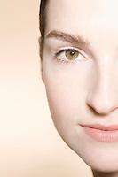 Portrait of young womans face