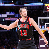 09 February 2014: Chicago Bulls center Joakim Noah (13) passes the ball during the Chicago Bulls 92-86 victory over the Los Angeles Lakers at the Staples Center, Los Angeles, California, USA.