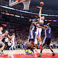 09 November 2015: Los Angeles Clippers forward Blake Griffin (32) goes for the baby hook over Memphis Grizzlies forward Zach Randolph (50) and Memphis Grizzlies forward JaMychal Green (0) during the Los Angeles Clippers 94-92 victory over the Memphis Grizzlies, at the Staples Center, in Los Angeles, California, USA.