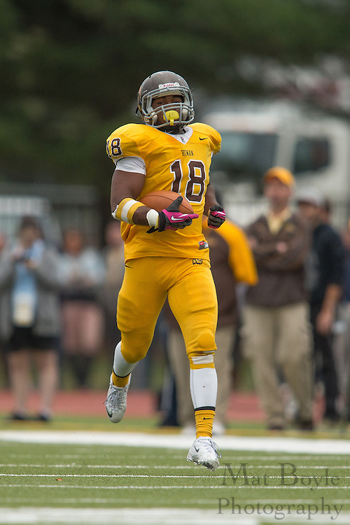 Rowan University Junior LB Tyler Jenkins (18)-  Rowan University Football vs Wesley College at Richard Wacker Stadium in Glassboro, NJ on Saturday October 19, 2013. (photo / Mat Boyle)