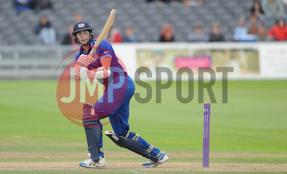 Gloucestershire's James Fuller hits into the legside.  - Mandatory byline: Alex Davidson/JMP - 07966386802 - 26/08/2015 - Cricket - County Ground -Bristol,England - Gloucestershire v Hampshire  - Royal London One Day Cup Quarter-Final - Quarter Final